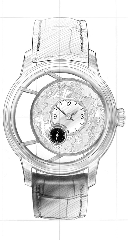 Strichzeichnung von der Special Edition Uhr aus der Benu